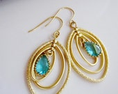 Aquamarine Earrings Gold Oval Hoop Earrings, Wedding Jewelry, Gold Chandelier Circles, Glass, Bridesmaid Jewelry, Mother Gift Jewelry