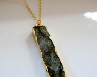 Gray Labradorite Necklace, Bar Necklace, Gray Natural Stone, Layering Style, Pendant Necklace, 24k Gold Edge, Gardendiva