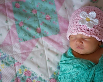 Baby Girl Hat 0 to 3 Month Baby Hat Light Pink Flapper Beanie Flapper Hat Crochet Flower Hat Spring Photography Prop Baby Girl Clothes