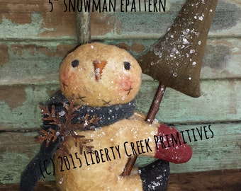 Primitive Snowman Oliver Epattern Instant Download