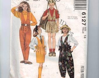 Girls Sewing Pattern McCalls 6127 Girls Jumper Dress and Jumpsuit Size 14 Breast 32 UNCUT  99