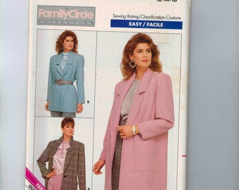 1980s Vintage Sewing Pattern Butterick 5759 Misses and Petite Easy Family Circle Loose Fitting Jacket Size 12 14 16 Bust 34 36 38 UNCUT  80s