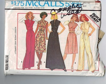 1970s Vintage Sewing Pattern McCalls 5366 Misses Dress and Jumpsuit Size 10 Bust 32 1/2 1976 70s