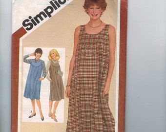 1980s Vintage Sewing Pattern Simplicity 9847 Misses Maternity Jumper Dress Muu Muu Pullover Loose Size 12 Bust 34 80s UNCUT  99