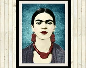 Frida Kahlo Instant Digital Download Modern Art Print Boho Retro Original Photomontage Home Wall Decor Aqua Blue Red Black White Portrait