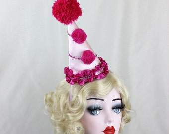 Ready to Ship, Clown Hat, Circus Costume, Burlesque, Halloween Costume, Party Hat, Birthdays, Pink, Blue, Kids, Adults,