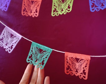 MARIPOSAS papel picado banners - Ready Made - butterfly Mexican paper bunting