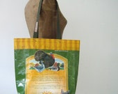 ON SALE! Recycled Poultry Feed Bag Tote, eco-friendly, Maine made