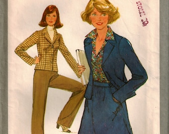 Vintage 70's Sewing Pattern, Misses' Skirt, Pants and Unlined Jacket, Size 6/8