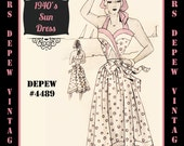 Vintage Sewing Pattern 1940's Ladies' Wrap Sun Dress in Any Size Depew 4489 - Plus Size Included -INSTANT DOWNLOAD-