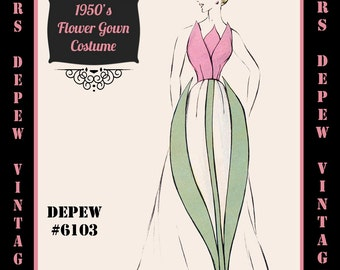 Vintage Sewing Pattern 1950's Costume Tulip Gown in Any Size - PLUS Size Included - Depew 6103 -INSTANT DOWNLOAD-