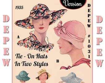 Vintage Sewing Pattern 1930's Tie On Sun Hat in Two Versions Reproduction Depew 1031 -PAPER VERSION-