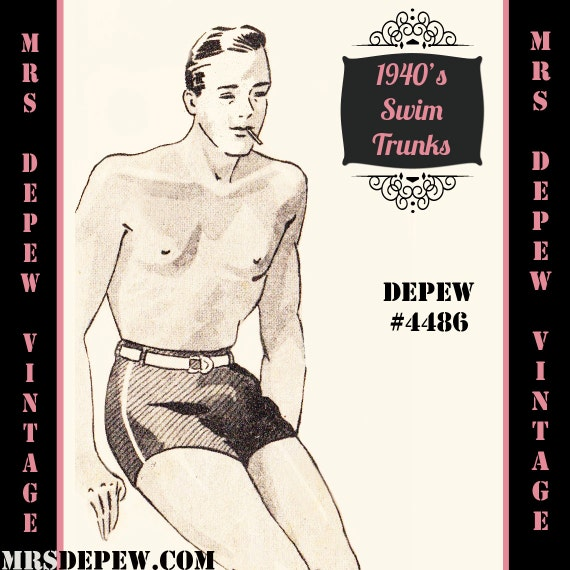 Men's Vintage Christmas Gift Ideas 1940s Swim Trunks in Any Size Depew 4486 - Plus Size Included -INSTANT DOWNLOAD- $8.50 AT vintagedancer.com