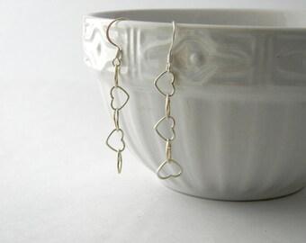 Sterling Silver Heart Chain Earrings Dangle Earrings