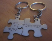 Be Mine Forever puzzle pieces Valentines Day Key chains or charms set of two puzzle pieces