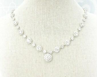 Rhinestone Wedding Necklace, Round Pendant Necklace,  cubic zirconia necklace, cushion cut jewellery, wedding necklace, CZ,  wedding jewelry