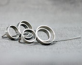 Geometric silver earrings, Minimalist silver earrings, Sterling silver earrings, Handmade earrings, Statement silver earrings