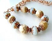 Earthy Wood and Gemstone Necklace Blue Green Opal Stone, Wooden Beads