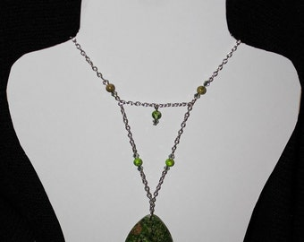 Green Sea Sediment Jasper Necklace One Of A Kind