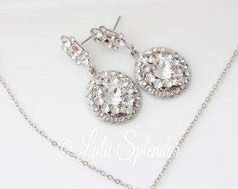 Wedding Crystal Earrings Bridal Jewelry Silver Rhinestone Earrings Oval Bridal Earrings Wedding Jewelry LEENA