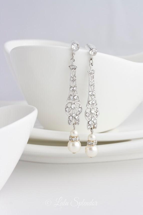 Wedding Jewelry Bridal Earrings Long Art Deco Dangle Earrings with Pearl and Rhinestone Vintage Wedding Earrings. MARCELLA FINE