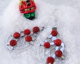 Red Coral Earrings, Statement carved rose trellis dangles, Lightweight modern