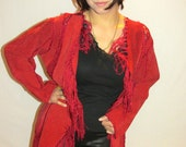 Patchwork BOHEMIAN Suede 60s 70s Fringe Leather COAT Size 8 Womans Small/Medium