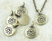 Teensy Brass Pendant TierraCast Lotus Charm - Antique Brass Oxide Bronze Charms - Meditation Yoga Charms Zen Buddhist Lotus Flower (P1220)