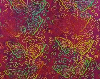 Butterfly Batik Red Mirah Fabric 1 yard