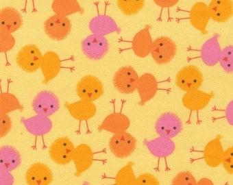 Chicks Sunshine Urban Zoologie Flannel Kaufman Fabric 1 yard