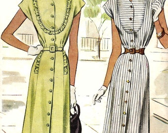 1940s Dress Pattern Vintage Sewing Button Front Cap Sleeves McCall Misses Size 14 Bust 34 Inches