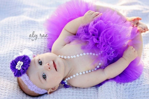 Purple TUTU Skirt Infant Newborn Baby Shower Gift Photo Prop Preemie Outfit Portrait Violet Dark Plum Berry Crochet Elastic Waistband