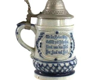 1890s Whites of Utica Antique Beer Stein, Hugo Billhardt Germany