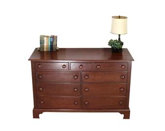 1940s Dresser | Low Double Drawers | Solid Wood | Vintage Bedroom Furniture Storage