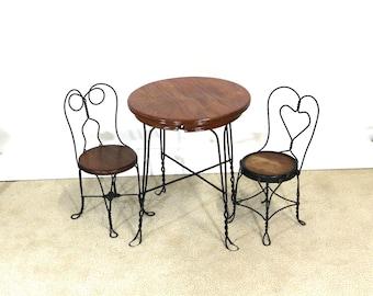 1940s Ice Cream Parlor Childs Table & Chair Set, Wood, Iron, Vintage Baby Nursery Decor