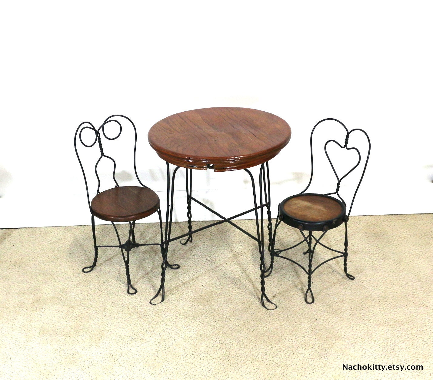 S ice cream parlor childs table chair set wood by