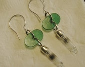 New Earrings, Sterling Silver, Green Onyx, Christmas Bulbs, Handmade