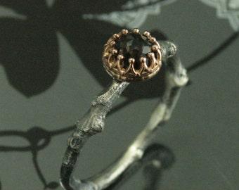 Smoky Quartz Ring--The Anna Ring--Two Tone Twig Ring--Sterling Silver Branch Ring--14K Rose Gold Crown Setting--Rose Cut Smoky Quartz