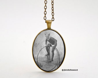 Bicycle Necklace, Bike Charm, Bike Pendant, Bike Necklace, Gift for Bicyclist, Bicycle Art, Bicycle, Bicyclist Gift, Cat Necklace, Bike Art