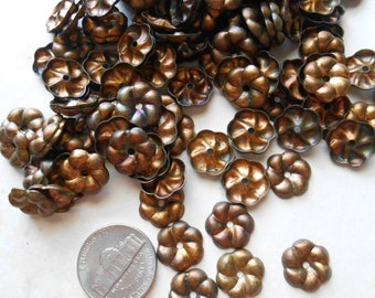 10 pcs  vintage brass stacking flower blossom - six petal brass old new stock finding bead cab