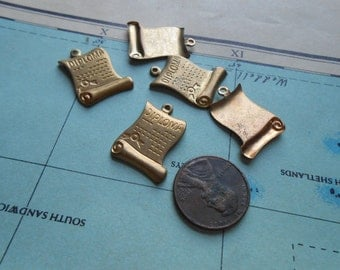 vintage brass diploma charms - old new stock jewelry supplies
