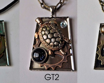 Turtle owl one of a kind art pendant necklace your choice, recycled watch parts, made in Michigan