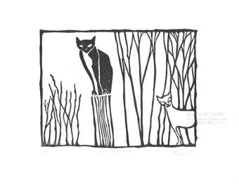 Quirky Cat Art, Rustic Linocut, Whimsical Cat Print, Smug Black Cat Art, Funny Cat Art, Wall Decor, Gift for Cat Lover,  Gift BirdWatcher