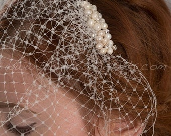 Birdcage Veil with Bridal Pearl Hair Comb, Bridal Pearl Hair Piece, Wedding Veil, Birdcage Veil