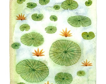 LARGE Lily Pond water lilies art watercolor print