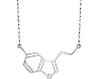 Horizontal Serotonin Molecule Necklace - Silver
