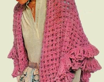 Shawl Crochet Pattern, Knot Stitch Crochet Shawl Pattern, Crochet Wrap Pattern, INSTANT Download Pattern PDF (1602)