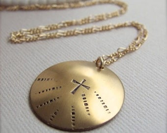 """Medallion Cross Necklace - Hand Stamped Brass Pendant -  20"""" gold fill chain, 1"""" round polished brass disc, Christian Jewelry, Cross Jewelry"""