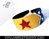 WONDER WOMAN | DC Comics | Superhero | Headband made with Glitter & Crystal Rhinestones