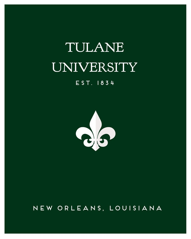 Tulane University Minimalist Poster / Media Room Art / Minimal Poster